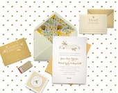 Custom Wedding Invitation Suite Deposit - Rustic Yellow Flower