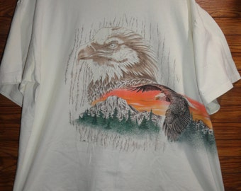1994 Hazelwoods Eagle soarig Mountain  t-shirt size xl made in USA 100% COTTON/ Rockies/Smokiest/west/retro/