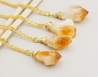 Raw Citrine Necklace Gold Citrine Necklace Gemstone Necklace Rough Citrine Crystal Pendant Boho Style Layering Necklace November Birthstone