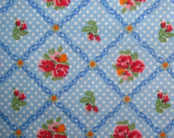 Blue Floral Trellis - Polycotton Fabric Dress/Craft Fabric