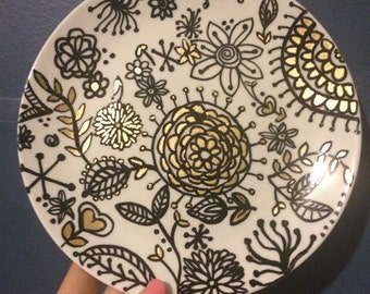 Small plate fun floral hand painted design