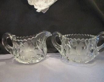 Vintage 30s Crystal Glass Creamer Set with Etched Sunflower Design