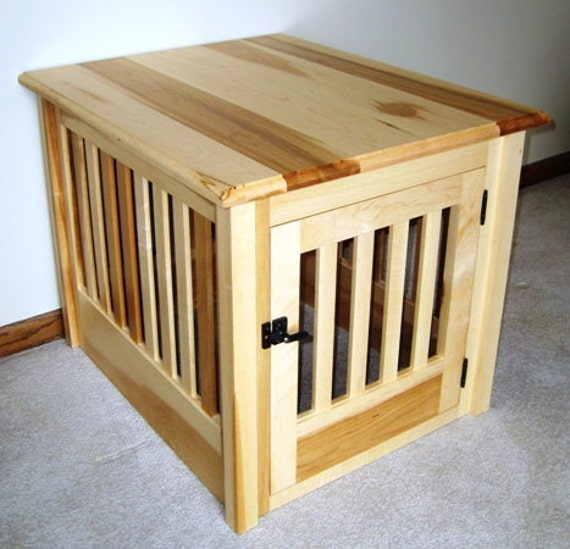 Items similar to Small Wood Dog Crate Furniture Custom