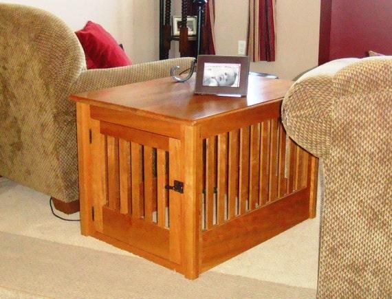 Items Similar To Medium Wood Dog Crate Furniture Custom Made To Order On Etsy