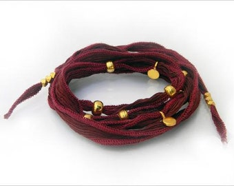 Wrap me silk bracelet with vermeil beads and chocolate-garnet silk