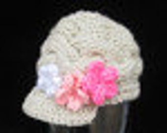 Handmade Knit Baby gerl  Hat /   Cream (Aran)  with Pink  Flower