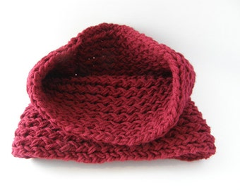 Big red knitted neck infinity cowl