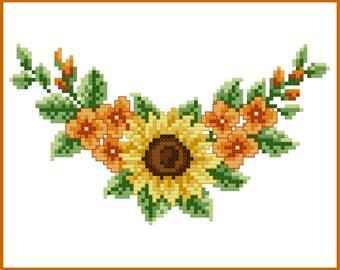 Sunflower Corner Cross Stitch Pattern
