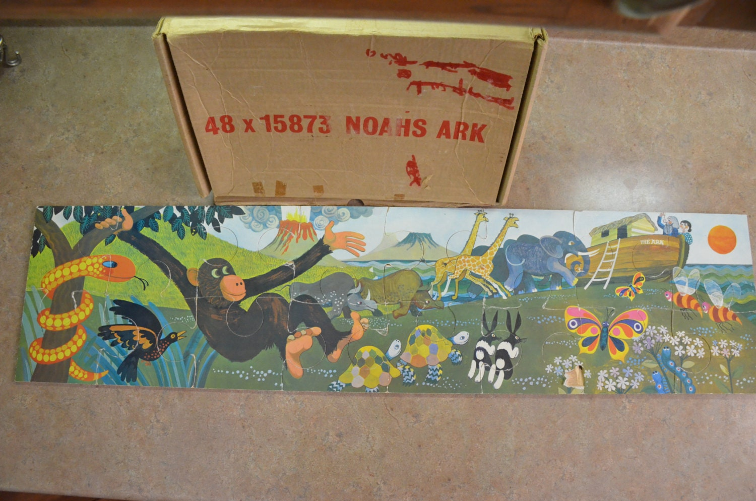 1970 s large wood noahs ark puzzle by thosegals on etsy