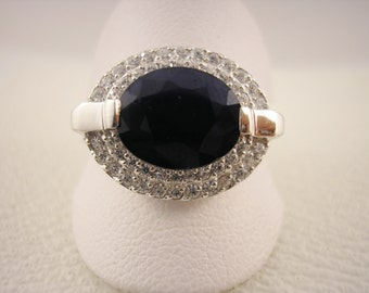 Sterling Silver Statement Ring with Heat Treated Sapphire