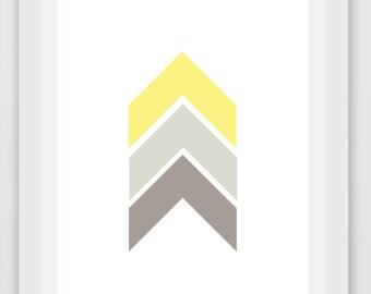 Chevron Print, Printable Art, Instant Download, Wall Art, Digital Art, Chevron Art, Yellow Chevron, Grey Chevron, Wall Decor