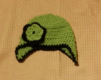 Crocheted Green Earflap Baby Beanie with Flower