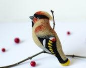 Felt Bird Brooch Pin Waxwing / bird brooches / bird pin / wood bird / woodland jewelry / handmade needle felted brooch
