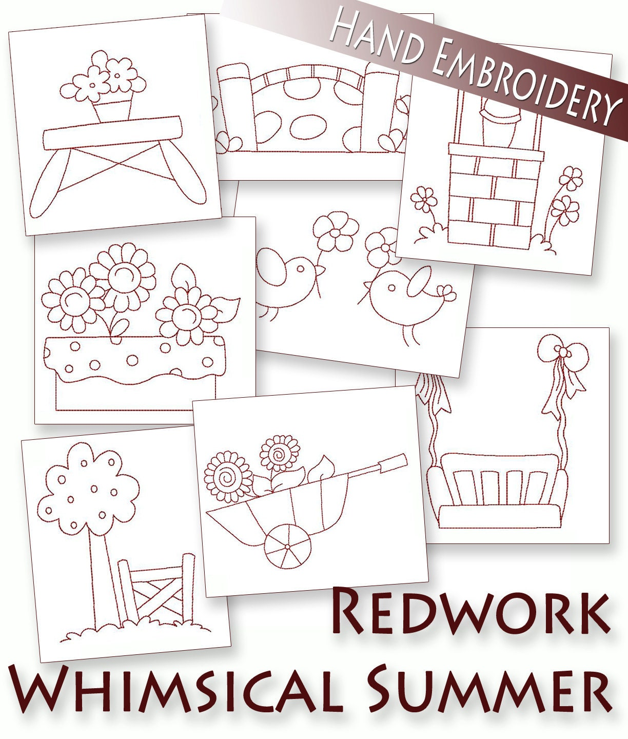 Sale hand embroidery patterns redwork designs whimsical