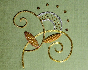 Hand Embroidery Goldwork kit 30's style design