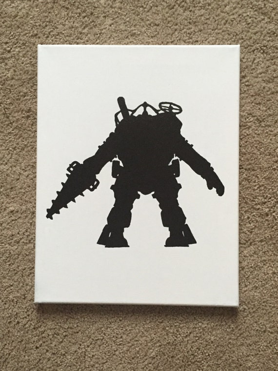 Items similar to Video Game Character Silhouette Canvas ...