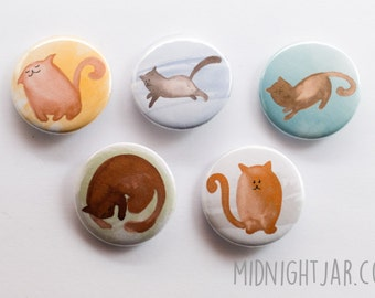 Cats and kittens set of 5 button badges (25mm)