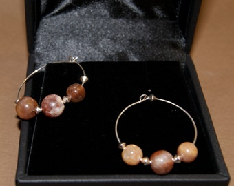 Peach Moonstone and Sunstone Hoop Earrings with Sterling Silver Accent Beads