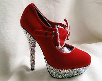 Red Platform Crystal Shoes