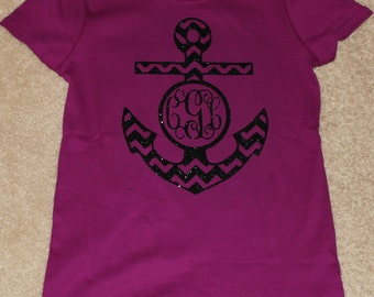 Chevron Anchor Monogram Women's Shirt short sleeve