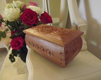 Hand carved jewelry box.