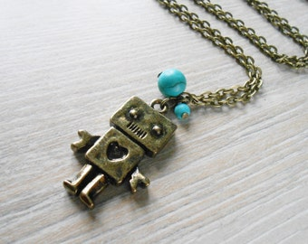 Robot - turquoise beads necklace