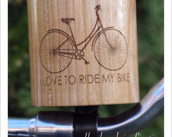 Hand made wood bicycle cup holder