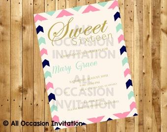 Sweet 16 Birthday Invitation; Printable; Digital File