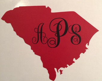 South Carolina Sticker With Monogram 4 1/2 X 3 1/2 inches