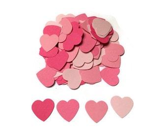 100 Pink Heart Confetti, Wedding Confetti, Die Cut Hearts, Pink Baby Shower, Pink Hearts, Bridal Shower, Wedding Shower, Throw Confetti
