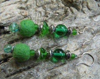 "Earrings ""Green Timberley"" felt, metal and glass beads"