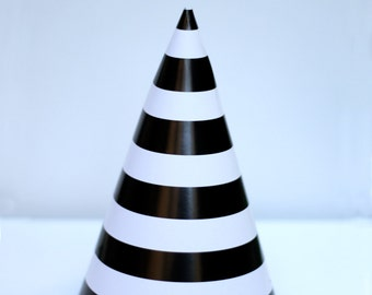 Black Striped Party Hats Pack of 10 Party Supplies