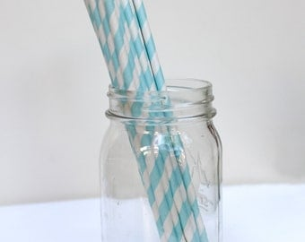 Striped Paper Straws Baby Blue Pack of 25 Party Goods