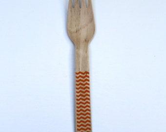 Orange Chevron Wooden Utensils (Knife, Forks, or Spoons) (pack of 12)