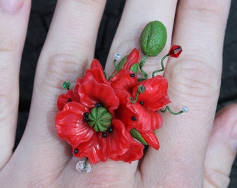 Poppy Ring - Red Ring - Flowers Ring - Polymer clay Ring - Ukrainian jewelry - Gift for her - Adjustable Ring