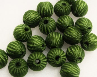 Big Bold Green Beads, Crochet Beads, Large Beads, Textile Beads
