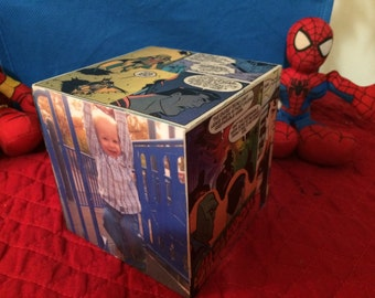 Super Hero Photo Block, Boy's Room Decor, Personalized Photo Display, Comics