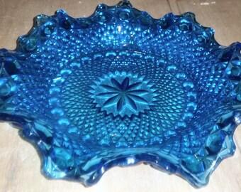 Art Deco Blue Frilled Sunburst Bowl