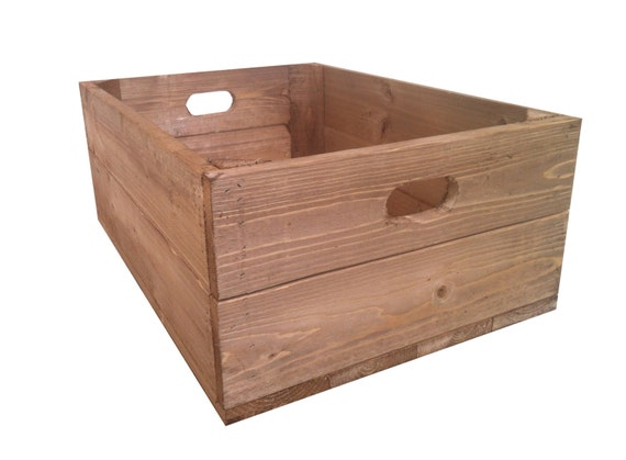 Rustic wooden shallow apple crate storage box for Used apple crates