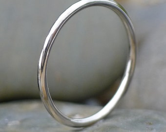 1.5mm Halo Wedding Ring, 18k White Gold
