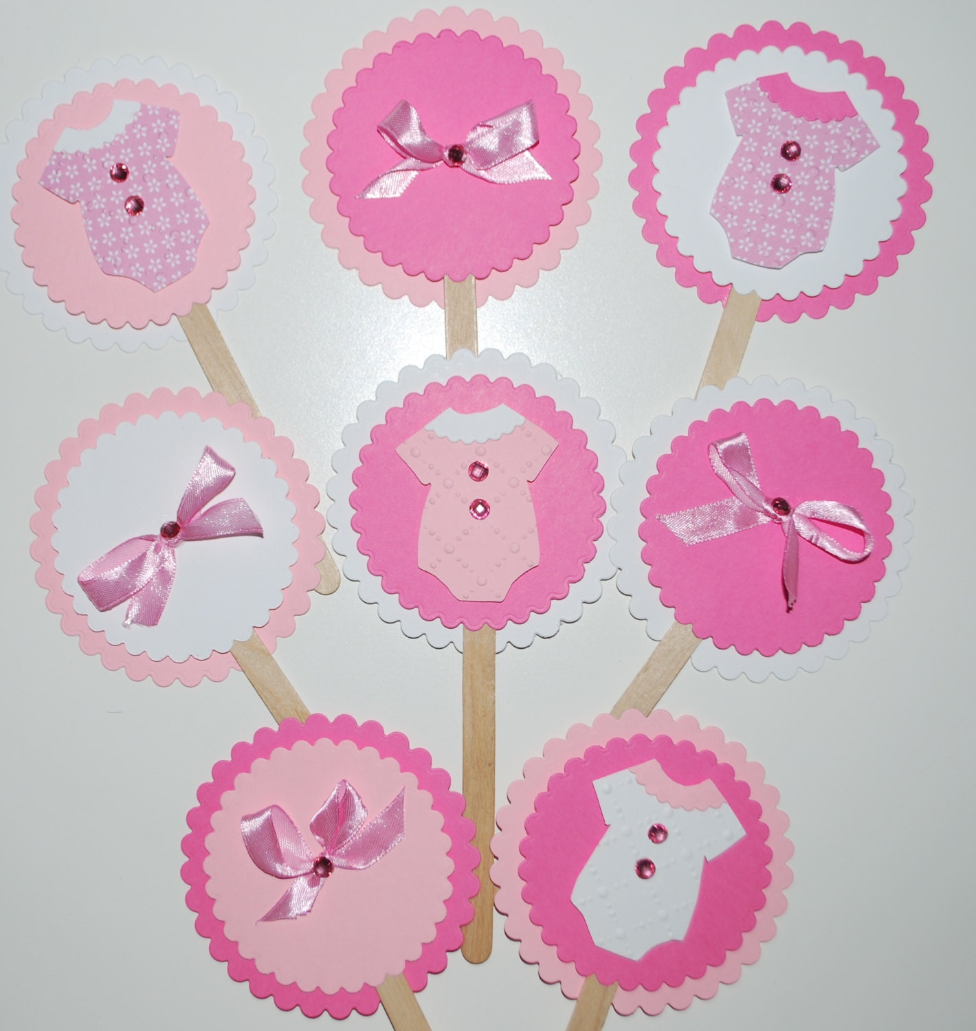 baby shower cupcake toppers baby girl shower decorations onesie