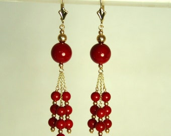 14K solid yellow gold natural 8mm & 4mm red Coral earrings leverback 14.8 tcw