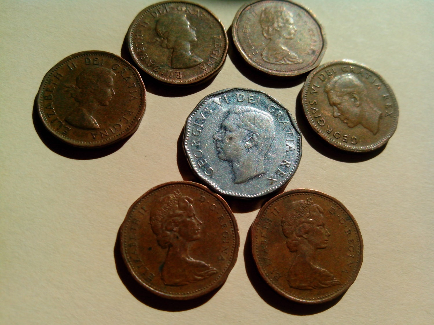 7 Canadian Old Coins 1 Cent Amp 5 Cent 1867 1967 By Holylandshop7