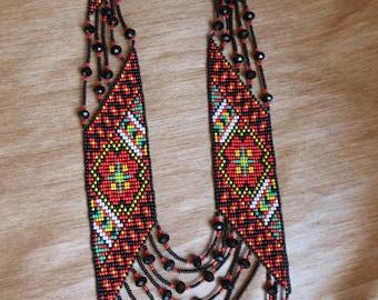 Ukrainian Gerdan Ukrainian folk Ukrainian gift Ukrainian jewelry Ukrainian embroidery Ukrainian beaded necklace Embroidered jewelry Long