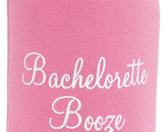 Bachelorette Booze Can Coolers!  Bachelorette can coolers in pink and white are perfect for the bachelorette festivities!