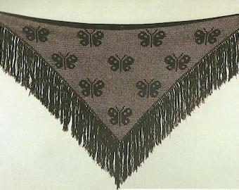 Vintage Ladies Butterfly Shawl Filet Crochet PDF Pattern