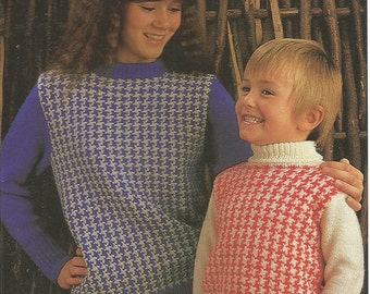 Vintage Family/ Adult and Childrens Houndstooth Sweater Knitting PDF Pattern