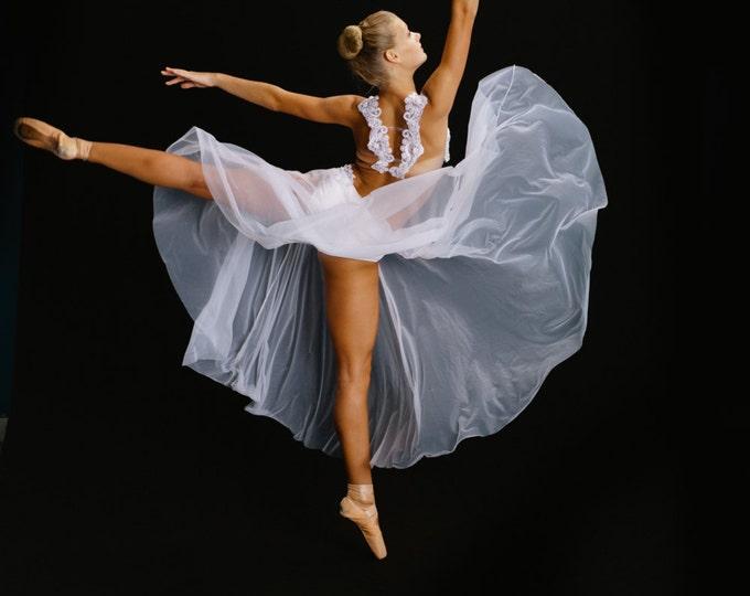 White pointe dance costume,lyrical dance costume, Lyrical solo dance costume,Lyrical girls Dance Costume, Lyrical group Dance costume
