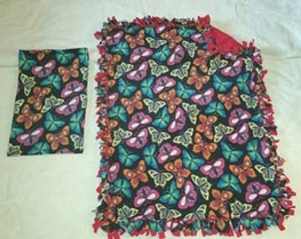 Handcrafted Fleece Butterfly Blanket with FREE Matching Pillowcase