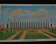 1183 - Vintage - CT Art Colortone Postcard - M-52 New Post Office, Minneapolis, Minn.